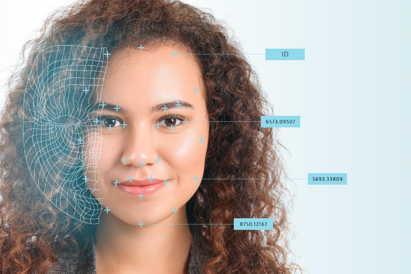 Woman with facial recognition