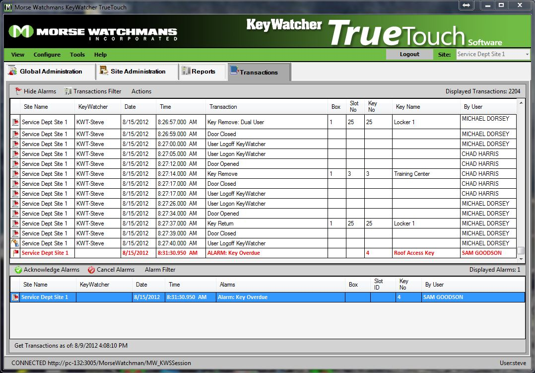 TrueTouch transactions - alarm section shown with alarm 1
